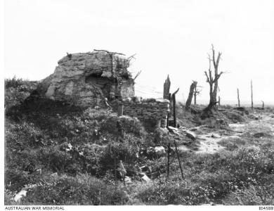 'Gibraltar', a damaged German redoubte at Pozieres 1917. Photographer unknown, photograph source AWM E04588