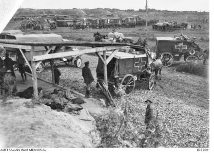 10th Australian Field Ambulance at Curlu, France. Sept 1918. Photographer unknown, photograph source AWM E03209