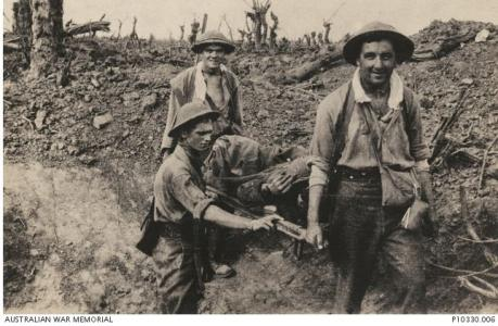 12th Field Ambulance Officers in France 1917. Photographer Cooke, Albert Victor, photograph source AWM P0330.006