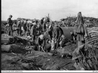 13th Field Coy. Engineers constructing dugouts near Zonnebeke 1917. Photographer unknown, photograph source AWM E01242