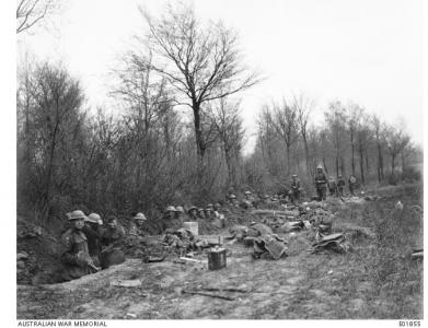 13th LTMB at Bresle Woods 28 3 1918. Photographer unknown, photograph source AWM E01855