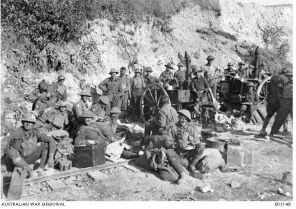 28th Battalion resting prior to attack at St. Quentin 1918. Photographer unknown, photograph source AWM E03148