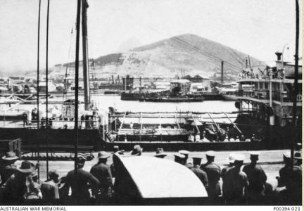 2nd Squadron AFC on board HMAT 'Ulysses' 1916 at Cape Town. Photographer unknown, photograph source AWM P00394.023