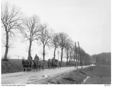 2nd Division Field Engineers 1918 on the Amiens -Beaucourt Road. Photographer unknown, photograph source E01952