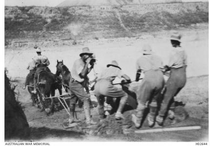 2nd Squadron Field Engineers scooping a river bank with a wheel rim, near Gaza 1917. Photo source AWM H02644