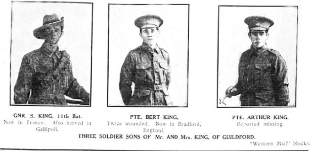 Sydney, Bert and Arthur King of Guildford. Photo source Western Mail block in Swan Express 24.11.1916 p5