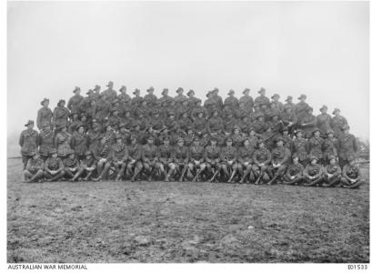30th AFA Battery at Vieux Berquin,France January 1918. Burton 2nd row from front, 11th from right