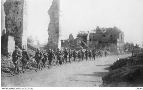 3rd Battle of Ypres, 3rd Division Soldiers marching to the front through Ypres. Photographer Barnes E.C. Photograph source AWM C0044