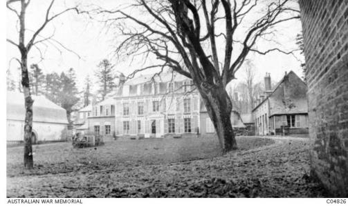 3rd Field Coy. Engineers HQ at Chateau Fouacourt, France. Photographer unknown, photograph source AWM C04826