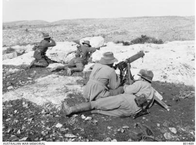 3rd Machine Gun Squadron 1917 at Khurbetha-Ibn-Harith.Photographer F. Hurley, photograph source AWM B01489