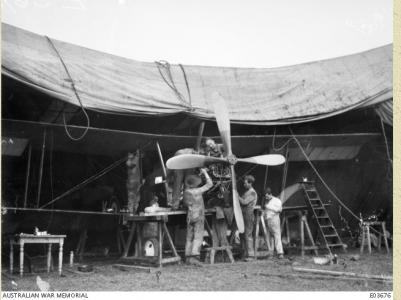 3rd Squadron. AFC mechanics at their airfield Oct.1918. Photographer unknown, photograph source E03676