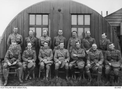 3rd Tunnelling Company at Neoux-le-Mine, France 19.6.1916. Hillman seated 3rd from left in front row. Photograph by unknown Official Photographer. Source AWM E02485