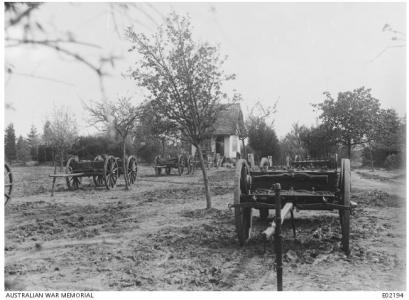 4.5 inch  Howitzer Ammunition wagons of  a Howitzer Battery. Photographer unknown, photograph source AWM E02194
