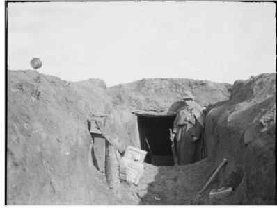 43rd Bn HQ dugout between Sailly-Le-Sec and Corbie Bary Rd. March 30th 1918. Photographer unknown, photograph source AWM E01847