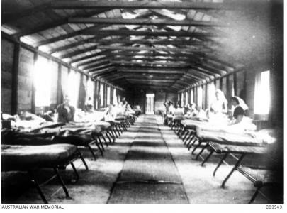 4th Auxiliary Hospital Abassia, Cairo- ward interior 1915. Photographer unknown, photograph source AWM C03543