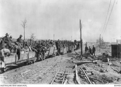 4th Pioneers moved on light rail behind the front lines. Photographer unknown, photograph source AWM E00468