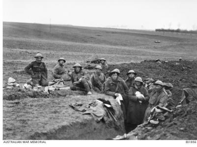 51st Bn. in reserve line near Lavieville France, March 1918. Photographer unknown, photograph source AWM E01856