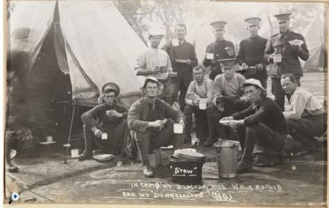 51st Bn. at Blackboy Hill Training Camp 20.7.1915. John Allen Law standing Centre. Photographer unknown, photograph source SLWA BA88/3