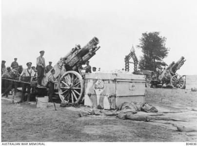 9.2 inch Howitzter used by the Artillery to support the Australian Troops at MorlancourtJune 1918. Photographer unknown, Photograph source AWM E04836