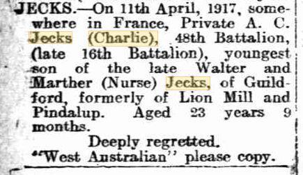 A.C. Jecks. Image source Kalgoorlie Miner 11.5.1917 p4