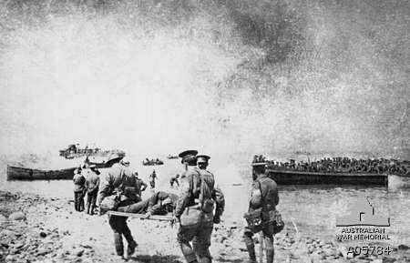 Stretcher bearers at Gallipoli. Photographer unknown, Photograph source AWM A05784