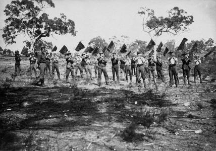 Signallers at Guildford, WA. Photographer unknown, photograph source AMWA 44809