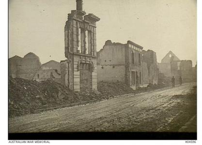 Aisne area. Ruined buildings in Aussonce, France October 1918. Photograph donated by the French Government, source AWM  H04596