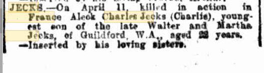 Alec Jecks. Obiturary. Source Western Mail 18.5.1917 p42