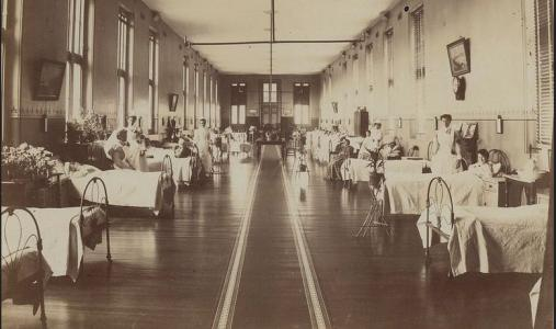 Alfred Hospital Melbourne, Vic. c1901-1918. Photographer unknown, photograph source SLV H2005.86/5