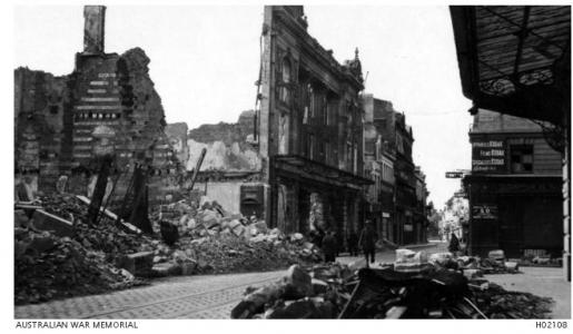 Amiens France after bombing 1917. Photograph source  AWM H02108