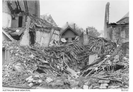 Amiens- shelled houses 1918, Photographer unknown, photograph sourced AWM E02163