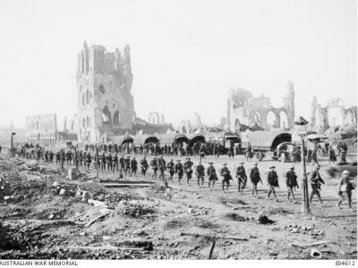 Anzac Soldiers marching to the front line, Ypres 1917. Photographer F. Hurley, photograph source AWM E04612