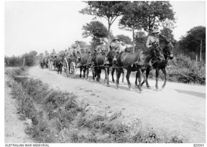 Army Service Corps transporting goods, France, WW1. Photographer unknown, photograph source EZ0001