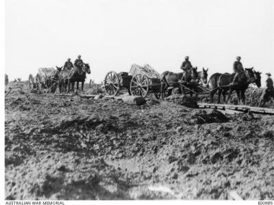 Artillery Limbers loaded with duckboards,Ypres 1917. Photographer unknown, photograph source AWM E0098