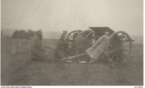 Artillery Training at Larkhill, UK.  December 1916. Photograph donor Captain A.W. McMillan, photograph source AWM H13935