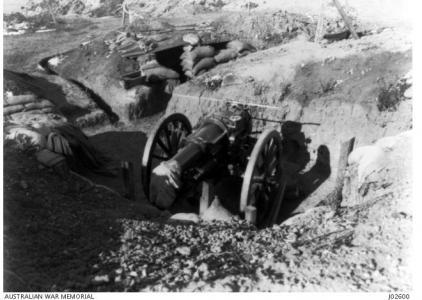Artillery at Shellgreen Gallipoli 1915. Photograph donor Lt.-Col.A.M. Martyn, photograph source AWM J02600