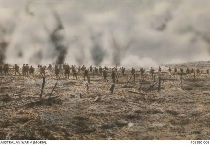 Attack on Polygon Wood 1917. Postcard by Colart Studio 1921, image courtesy AWM P0538.00