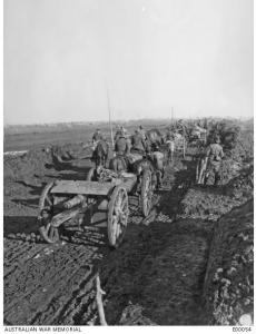Australian Artillery Column on the Mametz-Montauban Road December 1916. Photographer unknown, photograph source AWM E00054