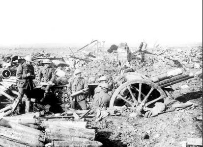 Australian Field Artillery with 18 pounder gun at Zonnebeke Oct.1917. Photographer unknown, photograph source AWM E01290