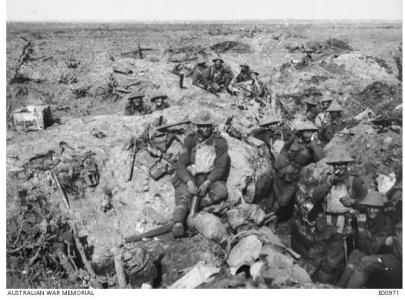 Australian Troops in shell craters at Polygon Wood 21.9.1917. Photographer unknown, photograph source AWM E00971