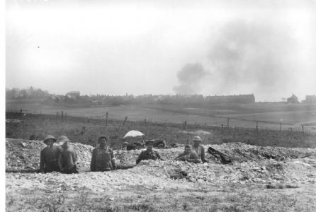 Australian Troops in trenches near Villers-Bretonneux May 1918. Photographer unknown, photograph source AWM E04828