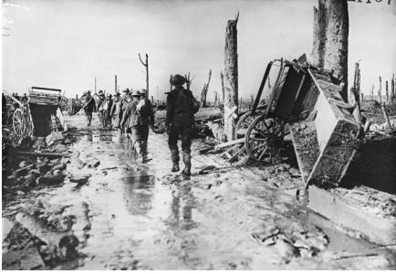 Australian Troops marching to the Front, Third Battle of Ypres. Photographer unknown, photograph source AWM  E01187