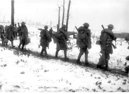 Australian Troops marching to the front at Longueval, January 1917. Photographer unknown, photograph source AWM E00136