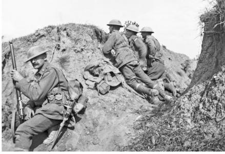 Australian Troops (11th Bn) in trenches near Lihons August 1917. Photographer unknown, photograph sourced AWM E02832