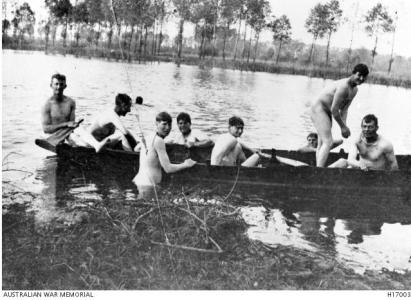 Australian soldiers bathing in the Somme near Amiens 1918. Photograph purchased from C. Wadeson, photograph source AWM H17003