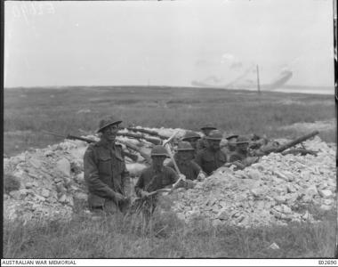 Battle of Hamel. Australian and American troops dug in.1918. Photographer unknown, photograph sourced AWM E02690