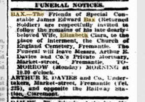 Bax Elizabeth Obituary. Sunday Times 19.8.1917 p1