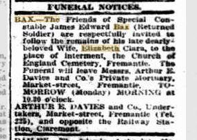 Bax Elizabeth Obituary. Sunday Times 19.8.1917 p1