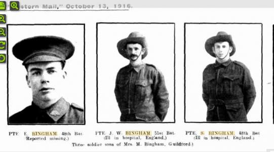 Bingham sons Guildford. Photo source Western Mail 13.10 1916 p28