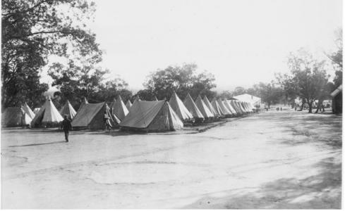 Blackboy Hill, Midland Junction, tent lines at Training Camp. Photographer unknown, photograph source AWM  A0287